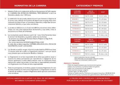Información sobre la carrera del 5 de diciembre.